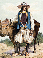 0229562 © Granger - Historical Picture ArchivePEOPLE.   France Lithographs / engravings from the 19th century France / Bretagne Brittany: Peasant with an ox from the area around Quimper - lithograph - around 1850.