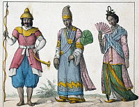 0229723 © Granger - Historical Picture ArchivePEOPLE.   Burma Lithographs / engravings from the 19th century Birma: Burma: foot soldier (left) and a Wungi with his wife - colored lithograph - 19th century.