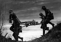 0230974 © Granger - Historical Picture ArchivePEOPLE.   German Empire: Soldats wirth a heavy machine gun during a military - Photographer: Heinz Fremke - Published by: 'B.Z.' 27.06.1936 Vintage property of ullstein bild.