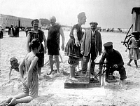 0231758 © Granger - Historical Picture ArchivePEOPLE.   Germany, East Frisian Islands, Norderney, woman on the scales on the beach in 1913.