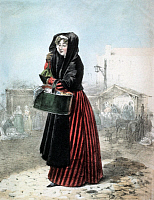 0231895 © Granger - Historical Picture ArchivePEOPLE.   Belgium Lithographs / engravings from the 19th century Woman selling oysters - colored lithograph - around 1865.