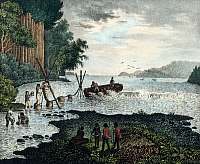 0232053 © Granger - Historical Picture ArchivePEOPLE.   Bismarck Archipelago Lithographs / engravings from the 19th century Europeans fishing (on New Ireland / Bismarck Archipelago) - colored llithograph - 19th century.