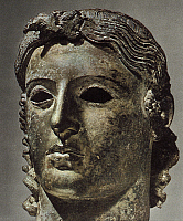 0233197 © Granger - Historical Picture ArchiveFINE ART.   Ancient Greece Head of Apollo Attic (High Classical Period), bronze found at Cyprus - ca. 460 B.C..