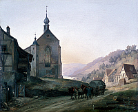 0233224 © Granger - Historical Picture ArchiveFINE ART.   Paintings Village with chapel in Franconia (Germany) - painting - 19th century.
