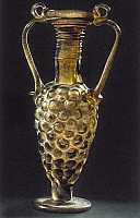 0233285 © Granger - Historical Picture ArchiveFINE ART.   Roman Antiquity Glass vase in the shape of grapes found at Cologne - picture taken on: 2000.