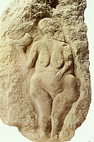 0233287 © Granger - Historical Picture ArchiveFINE ART.   Palaeolithic Age 'Venus of Laussel' 'Venus of Laussel' Relief from the Early / Old Stone Age, depicting a woman with a drinking horn around 20.000 B.C found at Laussel (Dordogne) -.