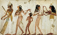 0233337 © Granger - Historical Picture ArchiveFINE ART.   Ancient Egypt Group of female musicians with harp, lute, flute and lyre - mural painting from a tomb in Thebes - 1539-1292 B.C. -.