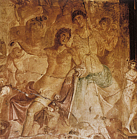 0233370 © Granger - Historical Picture ArchiveFINE ART.   Roman Antiquity Venus (Aphrodite) and the deadly wounded Adonis Roman fresco from Pompeii - 1st century B.C. -.