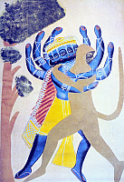 0233371 © Granger - Historical Picture ArchiveFINE ART.   India Historical depictions Ramayana epic: god Hanuman in the form of a monkey (right) fighting with the demon Ravana - Indian popular painting in Kalighat near Calcutta - 19th century.