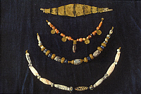 0233375 © Granger - Historical Picture ArchiveFINE ART.   Punic Art Punic jewelry, made of gold, agate, silver, glass, amber, and carnelian 700-600 B.C found at Tharros / Sardinia -.