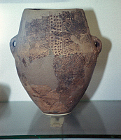 0233406 © Granger - Historical Picture ArchiveFINE ART.   Neolithic Age Urn with lugs for hanging it up from the New Stone Age, found at the chamber grave 'Jettestue' at Langeland / Danmark -.