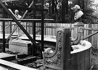 0233417 © Granger - Historical Picture ArchiveFINE ART.   German Empire Free State Prussia - Brandenburg Provinz (Province) - Berlin: Siegesallee, Sternallee, reconstruktion of monument Friedrich Wilhelm II. (King of Prussia), minor characters, left hand Count Johann Heinrich Casimir von Carmer and right hand Immanuel Kant, scupltor: Adolf Bruett - Photographer: Heinz Fremke - 1930 Vintage property of