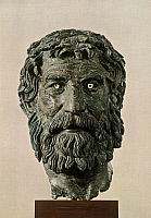 0233421 © Granger - Historical Picture ArchiveFINE ART.   Ancient Greece Bronze bust of the Philosopher of Antikythera, found in the sea near Antikythera - ca. 200 B.C. - picture taken on: 2000.