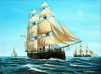 0233699 © Granger - Historical Picture ArchiveMILITARY.   Germany, navy imperial -1914 armor-plated frigate S.M.S. Kronprinz' 1868 (prussian). painting of O. Rahardt 2005.
