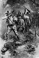 0233863 © Granger - Historical Picture ArchiveMILITARY.   Cuba Spanish-American War Attack by the 'Rough Riders' at Las Guasimas near Santiago under the command of Colonel Leonard Wood and later President Theodore Roosevelt (2nd from left with glasses). - contemporary illustration by W.A. Rogers - - 24.06.1898.