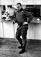 0233879 © Granger - Historical Picture ArchiveMILITARY.   Germany, German Federal Armed Forces, Air Force, Lockheed F 104 G, Starfighter pilot in the staff canteen - 1968.