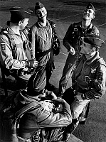 0234134 © Granger - Historical Picture ArchiveMILITARY.   Germany, German Federal Armed Forces, Air Force, pilots of the Starfighter during a conversation - 1966.