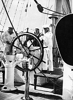 0234140 © Granger - Historical Picture ArchiveMILITARY.   Sail training ship 'Gorch Fock', shipboys at the helm - Photographer: Curt Ullmann - Published by: 'Hier Berlin' 17/1938 Vintage property of ullstein bild.