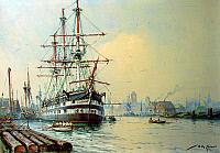 0234156 © Granger - Historical Picture ArchiveMILITARY.   Artillery - training ship S.M.S. Renown in the port of Gdansk (Danzig), around 1875 (British liner since 1856, bought in 1870 and in service until 1880) Painting by Willy Stoewer (mixed technics on cardboard) - 1924.