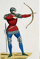 0234168 © Granger - Historical Picture ArchiveMILITARY.   France Military - historic Archer - after the Chroniques de Froissart - 15th century.