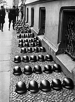 0234188 © Granger - Historical Picture ArchiveMILITARY.   German Empire Free State Prussia - Brandenburg Provinz (Province) - Berlin: Wehrmacht helms of the SS lying in file on the street - Photographer: Heinz Fremke - Published by: 'Berliner Morgenpost' 30.09.1937 Vintage property of ullstein bild.