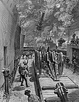 0234197 © Granger - Historical Picture ArchiveMILITARY.   Cuba Spanish-American War Embarkation of troops and artillery in Tampa, Florida, for the invasion of Cuba - contemporary engraving - June 1898.
