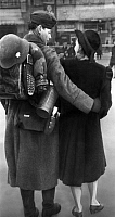 0234202 © Granger - Historical Picture ArchiveMILITARY.   Military, furlough: a soldier holding his girlfriend in his arms - Photographer: Bernd Lohse - Published by: 'Erika' 14/1941 Vintage property of ullstein bild.