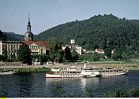 0234603 © Granger - Historical Picture ArchiveTRANSPORTATION.   DDR GDR, Bad Schandau: paddlesteamer Leipzig of the White Armada on River Elbe in front of the townhall of Bad Schandau - 01.07.1971.