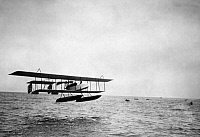 0234621 © Granger - Historical Picture ArchiveTRANSPORTATION.   Aviation , beginnings: Meeting of hydroplanes at Monaco. take-off of Henri Farman on one of his constuctions. 09.04.1913 Fotot. M. Rol.