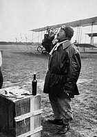 0234812 © Granger - Historical Picture ArchiveTRANSPORTATION.   France - Ile de France - The French aviator Fourny won the Michelin-Cup for thy flight with the Farman-biplane in 11 days 7.800 km. Fourny have a rest. - Photographer: M.Rol - 1913 Vintage property of ullstein bild.