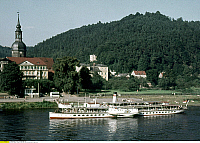 0235235 © Granger - Historical Picture ArchiveTRANSPORTATION.   DDR GDR, Bad Schandau: paddlesteamer Leipzig of the White Armada on River Elbe in front of the townhall of Bad Schandau - 01.07.1971.