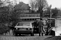 0235281 © Granger - Historical Picture ArchiveTRANSPORTATION.   German Democratic Republic A small car ferry at Caputh (near Potsdam) - 1990.