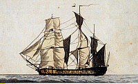0235527 © Granger - Historical Picture ArchiveTRANSPORTATION.   Maritime history Frigate - colored etching - late 18th century.
