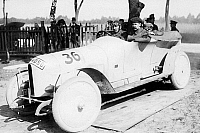 0235554 © Granger - Historical Picture ArchiveTRANSPORTATION.   Germany, auto race Prince Heinrich Tour, car Nr. 36 of race driver Fritz Erleaching the finish, 1910, photo by Illustrationsphoto-Verlag.