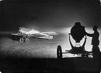 0235599 © Granger - Historical Picture ArchiveTRANSPORTATION.   German Empire, type of aircraft: Farman airplane starting by night during night service - Photographer: Willi Ruge - Published by: 'Vossische Zeitung' 38/1924 Vintage property of ullstein bild.