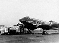 0235685 © Granger - Historical Picture ArchiveTRANSPORTATION.   Germany - Berlin: the four-engined Focke-Wulf (FW) 200 Condor D ACON, refuelling and preparation of the first non-stop flight Berlin - New York - 10./11.8.1938.
