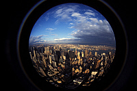 0236052 © Granger - Historical Picture ArchiveGEOGRAPHY.   View of Midtown Manhattan from the fish - eye lens on the Empire State Building - 1994.