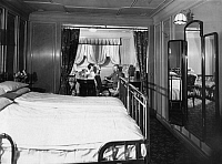 0236301 © Granger - Historical Picture ArchiveGEOGRAPHY.   Steamship Columbus of the shipping company Norddeutscher Lloyd. Bedroom with double bed at luxury cabin. - Photographer: Heinrich Engelke - Published by: 'Berliner Morgenpost' 13.04.1924 Vintage property of ullstein bild.