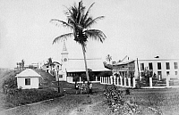 0236366 © Granger - Historical Picture ArchiveGEOGRAPHY.   Spanish colony Bioko (Bioco), or Fernando Poo, island off the west coast of Africa in the Gulf of Guineaa: Young people play in front of the catholic mission - 1900 Vintage property of ullstein bild.