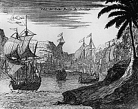 0236772 © Granger - Historical Picture ArchiveGEOGRAPHY.   Cuba History Conquest of Cuba from 1511: an expedition fleet is leaving the port of Santiago de Cuba (founded 1514 by Diego Velazquez de Cuellas) towards the Latin American coast. - Engraving from the 19th century after an older original - mid-1510's.