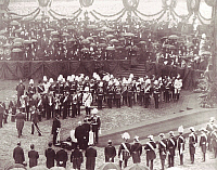 0236973 © Granger - Historical Picture ArchiveGEOGRAPHY.   Germany, Berlin: The emperor William I. lays the foundation stone of the Reichstag at the Koenigsplatz. In the background chancellor Otto von Bixhmarck (in white uniform). Picture taken by Ottomar Anschuetz. 09.06.1884.
