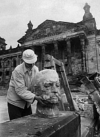 0236977 © Granger - Historical Picture ArchiveGEOGRAPHY.   Germany, Berlin, Reichstag: Bust of Hindenburg that was found during the reconstruction. 1957.