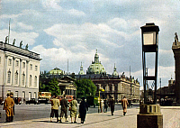 0237204 © Granger - Historical Picture ArchiveGEOGRAPHY.   View of the street Unter den Linden in Berlin. From left: Friedrich Wilhelm University, New Guard House, Armory Post card around 1939.