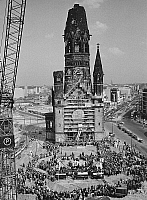 0238117 © Granger - Historical Picture ArchiveGEOGRAPHY.   Germany, Berlin, Gedaechtniskirche. Ceremony on occasion of the laying the foundation stone of the new building of the church by the architect Egon Eiermann. 09.05.1959.