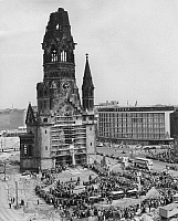 0238145 © Granger - Historical Picture ArchiveGEOGRAPHY.   Germany, Berlin, Gedaechtniskirche. Ceremony on occasion of the laying the foundation stone of the new building of the church by the architect Egon Eiermann. 09.05.1959 Defaka.