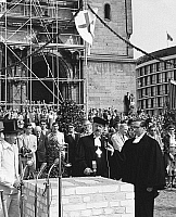 0238146 © Granger - Historical Picture ArchiveGEOGRAPHY.   Germany, Berlin, Gedaechtniskirche: The aying the foundation stone for the new building of the church (architect: Egon Eiermann). The regional bishop Otto Dibelius at the ceremony. 09.05.1959.
