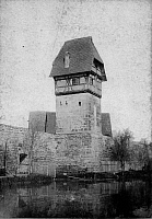 0239499 © Granger - Historical Picture ArchiveGEOGRAPHY.   German Empire - Bayern Koenigreich (Kingdom Bavaria) (-1918): Franconia, Dinkelsbuehl Baeurlinsturm tower, also named Haucketum tower, on the town wall - Photographer: Froelich - - undated Vintage property of ullstein bild.