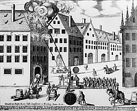 0239501 © Granger - Historical Picture ArchiveGEOGRAPHY.   Germany, Bavaria, Franconia, Nuremberg: Fire-fightening. Etching by Master Hanns, 1658.