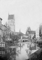 0239593 © Granger - Historical Picture ArchiveGEOGRAPHY.   German Empire - Bayern Koenigreich (Kingdom Bavaria) (-1918): Franconia, Dinkelsbuehl Woernitztor gate, tower on the town wall - Photographer: Froelich - - undated Vintage property of ullstein bild.