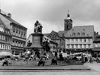 0239622 © Granger - Historical Picture ArchiveGEOGRAPHY.   Germany, Bavaria, Lower Franconia, Schweinfurt: market place with monument for Friedrich Rueckert, around 1956.